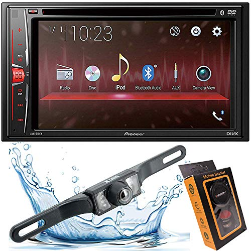 """Pioneer AVH-210EX 6.2"""" 2-Din Bluetooth Touchscreen Multimedia DVD Receiver with HD Backup Camera and Gravity Mobile Phone Holder (AVH-210EX+95BK) car Receivers Stereo"""