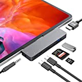 iPad Pro USB C Hub, Lrfeng 7-in-1 USB C Dock to HDMI, USB 3.0, USB-C, 3.5mm Audio and 60W PD Dock Compatible for New iPad Pro 2021, 2020, 2018, iPad Air 2020, New MacBook Pro/Air, iMac and More