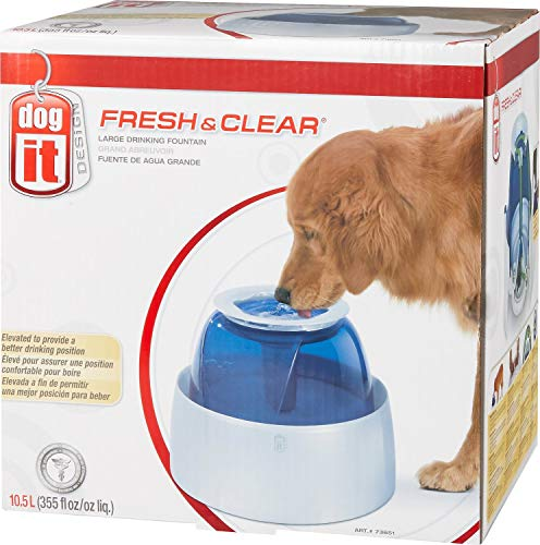 Dogit Fresh & Clear Elevated Dog Water Bowl, Dog Water Fountain, Large, 10.5L Capacity, 73651