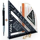 Equerre Menuisier Metal Aluminium [+CRAYON +NOTICE FR] Guide Rail/Outillage Bricolage Charpentier/Regle Équerre Raporteur...