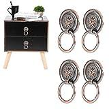 Tiradores de cajones antiguos de 4 piezas, anillo de tiradores de armario de gabinete vintage de aldaba de puerta(Cobre rojo)