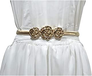 Fashion rose decoration spring elastic thin belt New ladies stretch metal waist chain (Color : Gold, Size : 60-80cm)