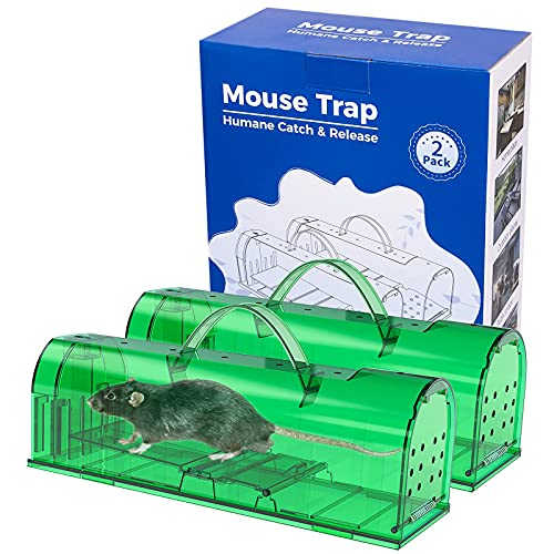 2 Pack Extra Large Humane Mouse Traps No Kill, Live Mouse Trap, Reusable Rat Trap Catch with Handles(11.8 X 3.8 X 4 inch) XL