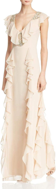 Aidan Mattox Womens Flutter Sleeves Beaded Evening Dress