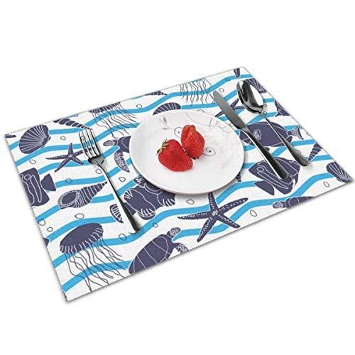 WITTN hand getrokken zee leven met blauwe golven en bellen Placemat wasbaar anti-slip voor keuken diner tafelmat, gemakkelijk te reinigen Placemat 12x18 inch Set van 4