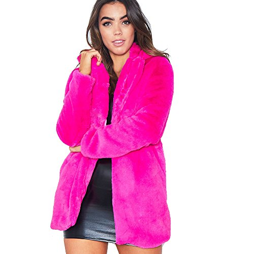Rvxigzvi Womens Faux Fur Coat Plus Size Parka Jacket Long Trench Winter Warm Thick Outerwear Overcoat XS-4XL (Rose Red-, US XXL)