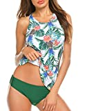MAXMODA Women Two Piece Plus Size Sexy Backless High Neck Halter Floral Printed Top with Hipster Bottoms Tankini Set
