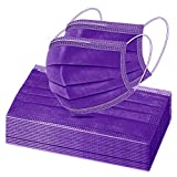 50 Pcs Solid Purple Disposable Face Masks, Breathable Non-woven Multicolor Mask Facial Mouth Cover 3 Layer Protectors with Nose Clip Elastic Earloop Pure Purple