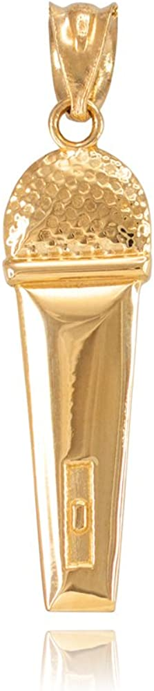 10k Yellow Gold Singer Microphone Music Charm Pendant