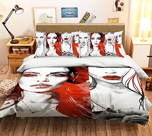 AJ Tapete 3D Red Graffiti 3908 Bettwäsche Kissenbezüge Quilt Bettbezug Set Einzelbett Queen King | 3D Foto Bettwäsche UK Angelia, Single:135*200cm(±4cm)
