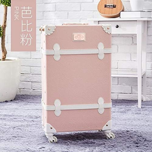 Mdsfe Girl 2PCS / SET Vintage Floral PU Travel Bag Luggage sets, 13'20' 22'24' 26'inch Women Retro Trolley Suitcase Carry On Wheel - Style as shown, 22'
