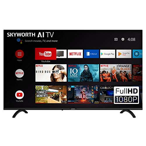 "SKYWORTH E20300 40"" INCH 1080P LED A53 Quad-CORE Android TV Smart 40E20300 with Voice Control Smart Remote, 1mm Thin Bezel, and Android Operating System"