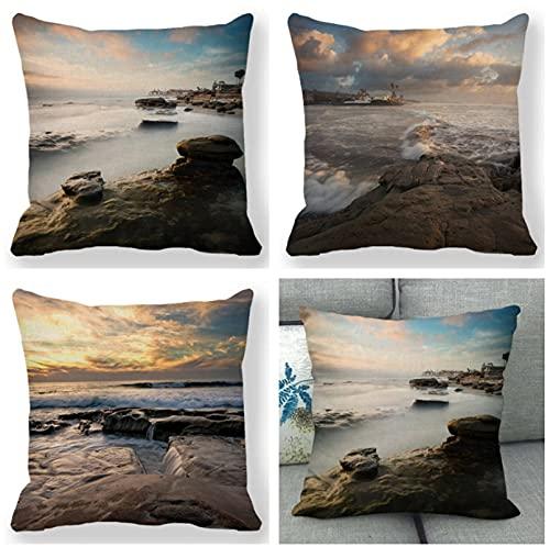JOVEGSRVA Juego de 4 fundas de cojín de mar, impermeables, para patio, jardín, banco, sala de estar, sofá, decoración de 45 x 45 cm
