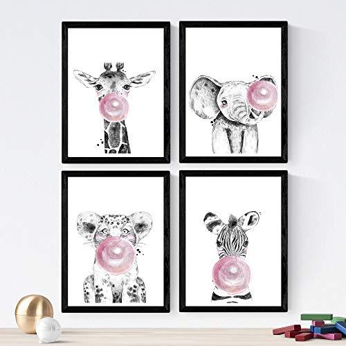 Nacnic Set de 4 láminas de Animales Infantiles con Chicle Rosa,en tamaño A4, Poster Papel 250 gr Marco