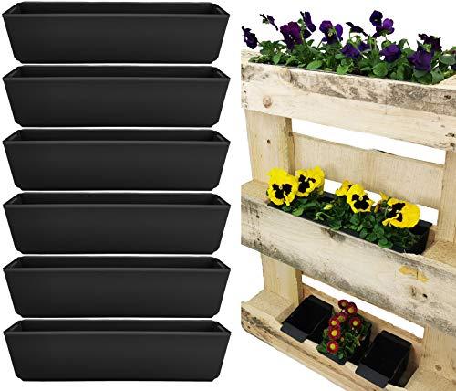 My-goodbuy24 Pflanzkasten für Paletten - 6er Set Einsatz Kunststoff - Blumenkästen Einsatz für Europlatten Deko Garten Pflanzschale