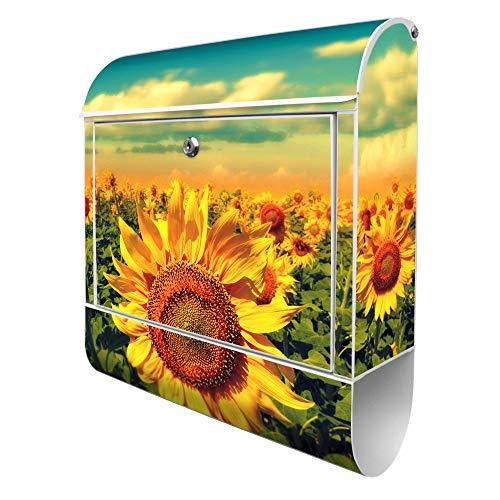 Banjado Design Briefkasten mit Motiv Sonnenblumen | Stahl pulverbeschichtet mit Zeitungsrolle | Größe 39x47x14cm, 2 Schlüssel, A4 Einwurf, inkl. Montagematerial