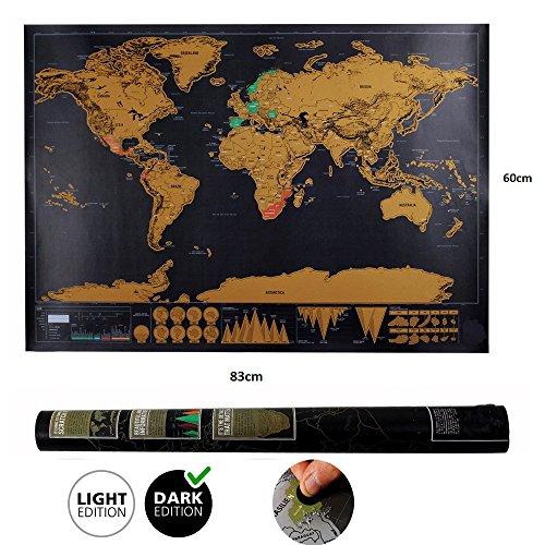 Weltkarte zum Rubbeln Weltkarte world map mit Plektrums schöne Erinnerung für Reisebegeisterte und Globetrotter (82.5 x 59.5 cm)