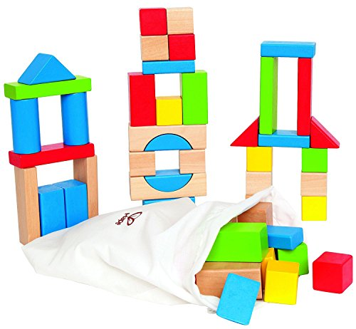 Hape Maple Wood Kid's Building Blocks in Assorted Shapes and Sizes ,50 pieces