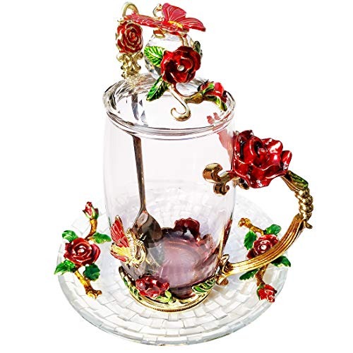 LANTREE Fancy Glass Tea Cup with Lid Saucer Spoon Floral Coffee Mug Unique Christmas Gift Birthday Gift for Friend Female Mother-in-Low Daughter House Warming GiftTall Red