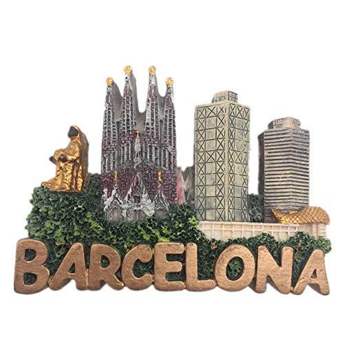 Kühlschrankmagnet Barcelona Spanien 3D Harz Handgemachtes Handwerk Touristische Reise Stadt Souvenir Sammlung Brief Kühlschrank Aufkleber