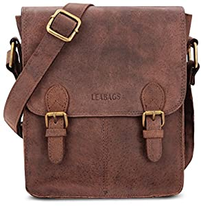 LEABAGS Kansas genuine buffalo leather shoulder bag in vintage style