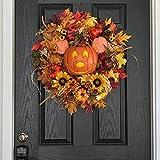 Guirnaldas para puerta principal de otoño de Halloween, guirnalda de calabaza de Mickey Mouse para puerta principal, guirnalda de hoja de arce de calabaza artificial para colgar en-Pumpkin wreath
