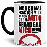 Auto-Tasse mit Spruch'Ich frag mich ob mein Auto an mich denkt?' Geschenk für den...