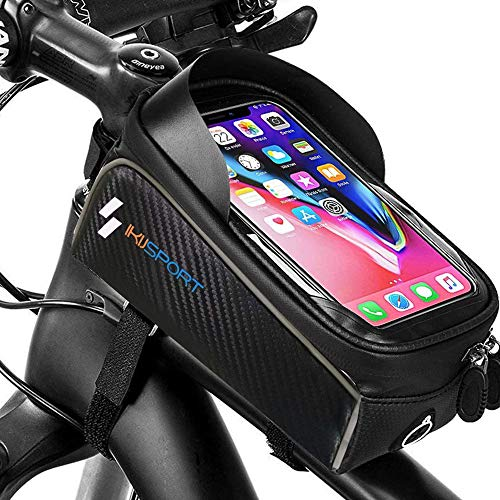 IKIJ SPORT Bolsa para el marco de la bicicleta, para manillar, impermeable, delantera de carreras, soporte para teléfonos móviles de menos de 6,5 pulgadas, soporte para smartphone con ventana táctil