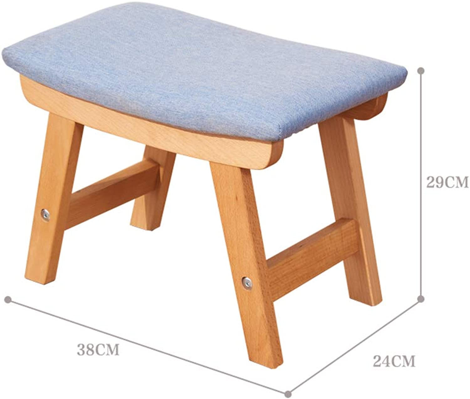 Stools Footstool Work Stool Step Stool Cotton and Linen Solid Wood Change shoes Washable Non-Slip mat Reinforce Surface ZHANGQIANG (color   bluee-Wood, Size   Large)