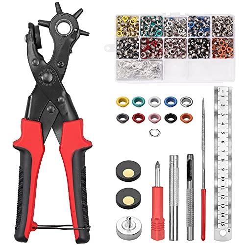 Alicate Sacabocados para Cinturones y Cuero KAMTOP Juego de Perforadores de 6 Tamaños y 500 Juegos de Ojales de 3/16 Pulgadas Punzones de Agujero para Cinturones, Collares de Perro, Proyectos de DIY