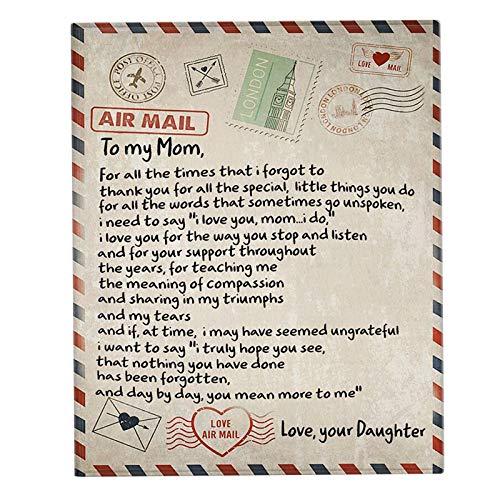 Manta de franela para mí mamá con texto impreso en inglés «Love Letter digital» para sofá o cama de cumpleaños