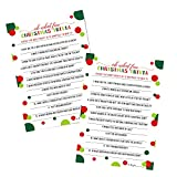 Oh Fun Christmas Trivia Game Cards Pack of 25 (Version 2) Jolly Guessing Activity for Adults, Kids, Groups and Coworkers – Holiday Event Supply Red Green and Gold 5x7 Printed Set - Paper Clever Party