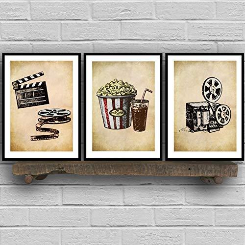 RHBNVR canvasschilderij 3 stuks prints retro popcorn cola muurkunst modulaire canvas moderne nacht achtergrond decoratie