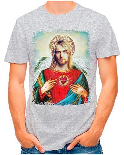 OM3® - Saviour-Kurt - T-Shirt | Herren | Vintage Jesus Angel Erlöser Printshirt | Grau Meliert, M