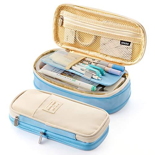 Trousse Scolaire, lunaoo Trousse Crayons Grande Capacit avec Compartiments Plumier Fourniture Scolaire Papeterie Pencil Case Pen Pouch pour Enfant Fille Garcon Ado -Bleu
