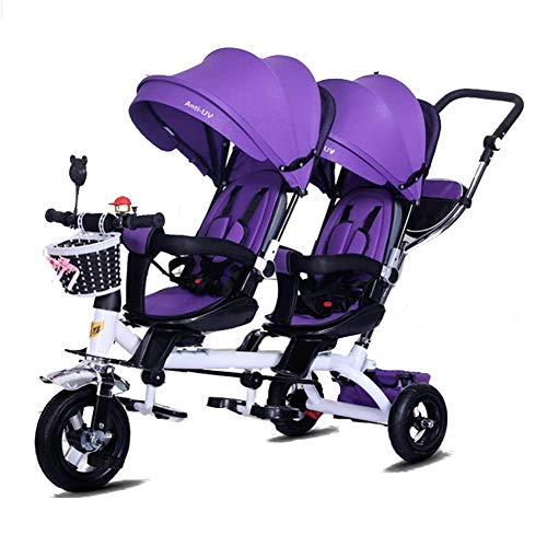 WYZXR 4 in 1 Twin Baby Dreirad Verstellbarer Kinderwagen Decke Fahrrad Kinder Jungen Mädchen Leichtgewichtige abnehmbare Faltbare Pedale Sicherheitszaun