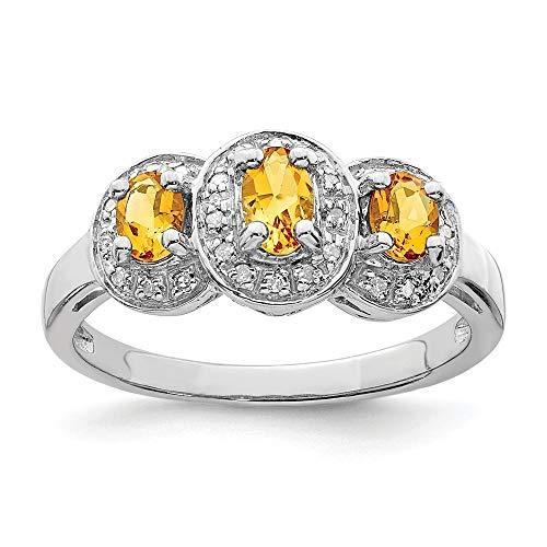 Plata de ley con rodio citrino y anillo de diamantes en bruto - tamaño P 1/2 - JewelryWeb
