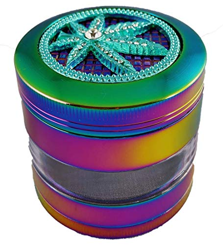"Zoogamo 4 Piece Crystal Leaf Logo Durable Aluminum 2.5"" Spice Herb Leaves Grinder Crusher with Magnetic Top, Best Pollen Catcher & Jar – Includes Stainless Steel Screen, Pollen Scraper (Ice blue)"