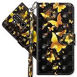 MRSTER Nokia 8.1 Handytasche, Leder Schutzhülle Brieftasche Hülle Flip Hülle 3D Muster Cover mit Kartenfach Magnet Tasche Handyhüllen für Nokia 8.1 2018. YX 3D - Golden Butterfly