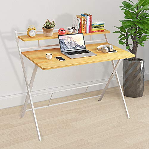 Folding Computer Desk Collapsible Home Office Laptop PC Desk for Small Space, 2-Tier Writing Desk with Metal Frame, No Assembly Required