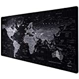 Anpollo Alfombrilla Raton Gaming Grandes World Map Mouse Pad XXL 900x400x3 mm,Impermeable con Base de Goma Antideslizante,Special-Textured Superficie para Gamers Ordenador, PC y Laptop