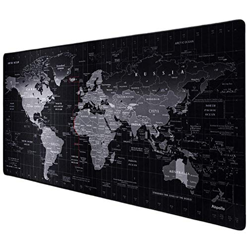 Anpollo XXL Speed Gaming Mauspad Weltkarte 900x400x3mm XXL Mousepad Tischunterlage Large Size Multifunktionales Anti Rutsch schreibtischunterlage verbessert Präzision und Geschwindigkeit