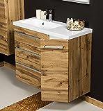 Quentis Badmöbel Genua, Breite 90 cm, Eiche Natur, Unterschrank mit 3 Schubladen und 1 Türe, Softeinzug, Waschbeckenunterschrank montiert