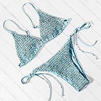 女性水着 水着女性トンベルベット水着セクシープッシュアップマイクロビキニセットスイミングスーツビーチウェアブラジルビキニ2021 (Color : B4391BL, Size : S)