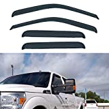 LLPTA Set of 4 Compatible with 99-16 F250/F350/F450/F550 Super Duty Supercrew/Crew Cab With 4 Full Size Doors Front+Rear Smoke Sun/Rain Guard Wind Deflector Outside Mount Tape-On Acrylic Window Visors
