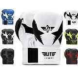 Elite Sports Boxing Gloves for Men and Women, Women and Men Kickboxing Gloves (White & Black 10 Oz)