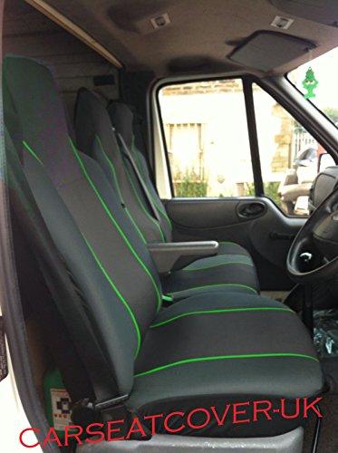 Fundas de asiento de coche para furgoneta (ajuste universal), color negro y verde