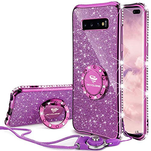 OCYCLONE Cute Galaxy S10 Plus Case, Glitter Luxury Bling Diamond Rhinestone Bumper with Ring Grip Kickstand Protective Thin Girly Samsung Galaxy S10+ Plus Case for Women Girl - Purple