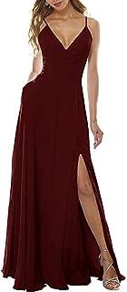 Long Bridesmaid Dresses Chiffon Spaghetti Strap Slit Evening Dress Floor Length