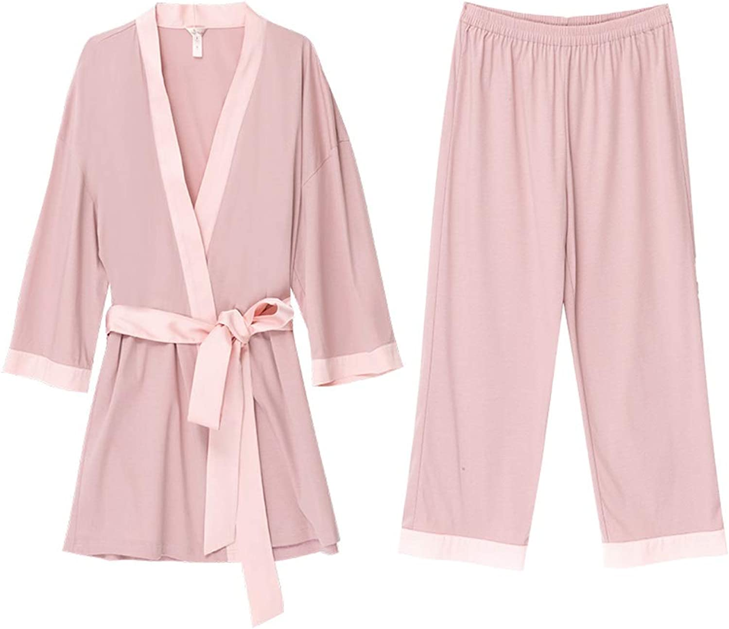 Home Clothes Cotton SevenPoint Sleeve Pajamas Set Lace Nightgown Home Service (color   Pink, Size   L)